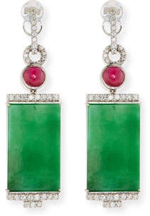 David C.A. Lin 18k Rectangular Jade and Diamond Drop Earrings
