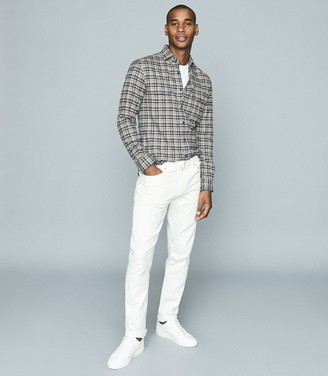 Reiss Tucci - Brushed Checked Shirt in Grey