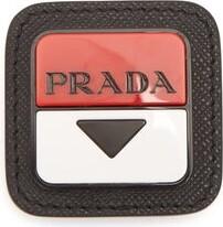 Prada Logo-plaque Leather Brooch - Red
