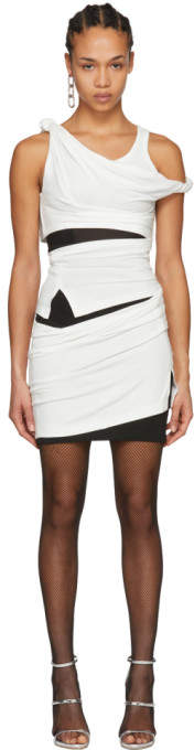 Alexander Wang Off-White and Black Deconstructed Tank Dress