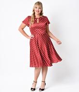 Unique Vintage Plus Size Red & Ivory Dot Formosa Swing Dress