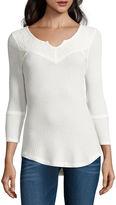 Almost Famous 3/4 Sleeve Henley Shirt Juniors