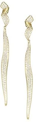 Ippolita Stardust Diamond Pave & 18K Yellow Gold Twisted Ribbon Drop Earrings