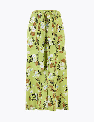 Marks and Spencer Floral Print Button Front Pencil Midi Skirt