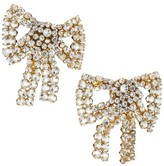 Rebecca De Ravenel Tie Me Up Crystal Bow Clip-On Earrings