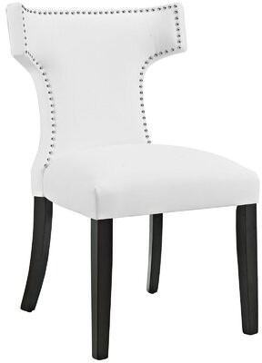 """Wrought Studioâ""""¢ Niles Curve Upholstered Dining Chair Wrought Studioa Color: Vinyl White"""