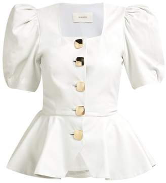 Rodarte Square-neck Puffed-sleeve Leather Blouse - Womens - White Gold