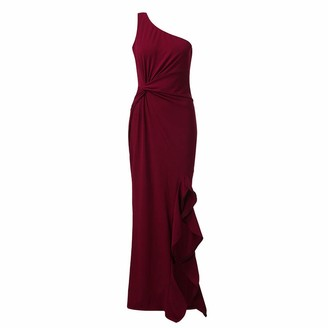 AMhomely Women Dresses Promotion Sale Clearance Womens One Shoulder Ruched Ruffle Formal Evening DressSlim Maxi Dresses Plus Size Dress Party Elegant Dress Vintage Dress UK Size Red