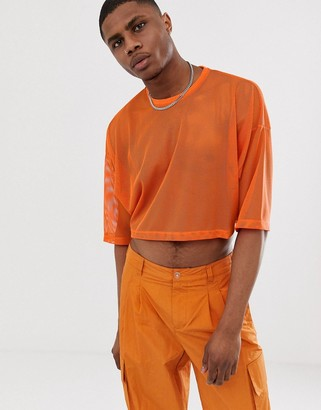 Asos Design DESIGN cropped oversized t-shirt with half sleeve in mesh-Orange
