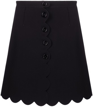 RED Valentino scallop-trim A-line skirt