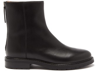 LEGRES Leather Zipped Officer Boot - Black