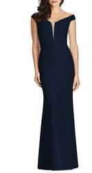 Dessy Collection Off the Shoulder Crepe Trumpet Gown