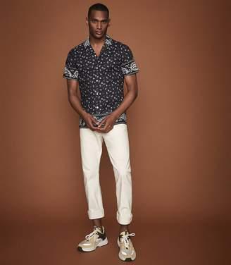 Reiss Antone - Paisley Printed Cuban Collar Shirt in Navy/white