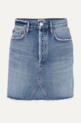 A Gold E AGOLDE - Ada Distressed Organic Denim Mini Skirt - Mid denim