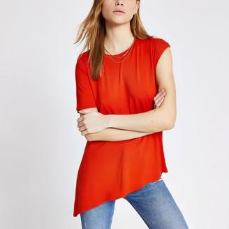 River Island Womens Orange asymmetric sleeve premium T-shirt