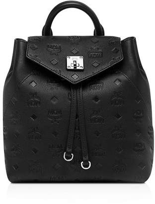 MCM Essential Monogrammed Small Leather Convertible Backpack