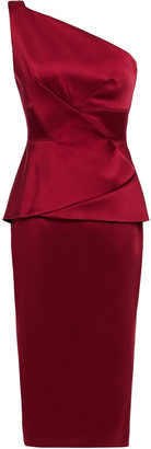 Roland Mouret One-shoulder Satin Peplum Dress