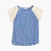 J.Crew Girls' striped T-shirt with eyelet sleeves