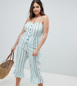Asos DESIGN Curve cotton frill hem jumpsuit with square neck and button detail in variated stripe