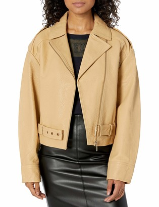 Ax Armani Exchange A|X Armani Exchange Women's Motorcycle Style Jacket with Notched Collar and Belt Detail