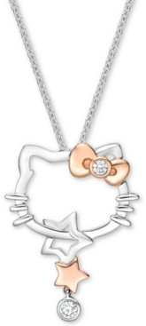 "Chow Tai Fook Diamond Hello Kitty 18"" Pendant Necklace (1/10 ct t.w.) in 18k White Gold & Rose Gold"