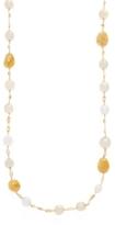 18K Yellow Gold, South Sea Pearl, Citrine & Yellow Aquamarine Long Strand Necklace
