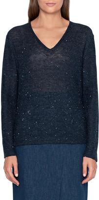 Akris Sequin V-Neck Easy Sweater