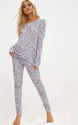 PrettyLittleThing Grey Long Sleeve Doughnut Legging PJ Set
