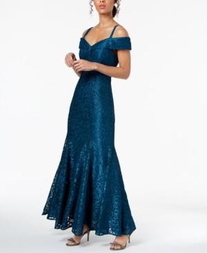 R & M Richards Off-The-Shoulder Lace Gown