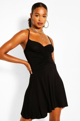 boohoo Jersey Ruched Front Strappy Skater Dress