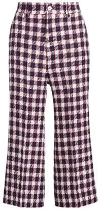 Gucci Lightweight Tweed Plaid Wool-Blend Culottes