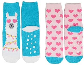Jefferies Socks Llama Heart Fuzzy Slipper Socks 2-Pack (Infant/Toddler/Little Kid/Big Kid) (Multi) Girls Shoes