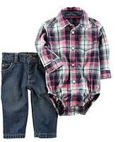 Carter's Baby Boys' 2-Piece Plaid Bodysuit And Jeans Set