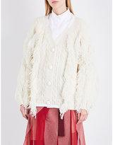 Sacai Fringed wool-blend cardigan