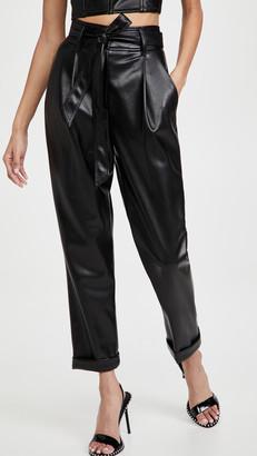 Fleur Du Mal Vegan Leather High Waist Belted Pants