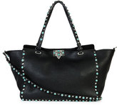 Valentino Rockstud Medium Turquoise Studs Tote Bag, Black