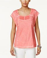 Style&Co. Style & Co Cotton Lace Eyelet-Embroidered Top, Created for Macy's