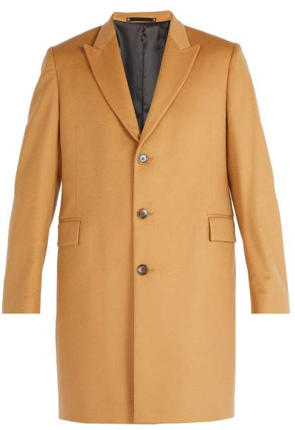 Paul Smith Single Breasted Wool And Cashmere Overcoat - Mens - Camel