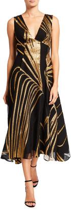 Lela Rose Metallic Fil Coupe Wool-Blend Dress
