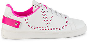 Valentino Women's Garavani Rockstud Neon-Trim Leather Sneakers