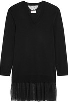 RED Valentino Point D'esprit Tulle-trimmed Cashmere-blend Tunic - Black
