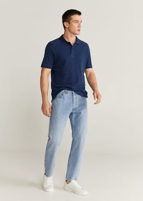 MANGO MAN - Cotton denim polo shirt indigo blue - M - Men