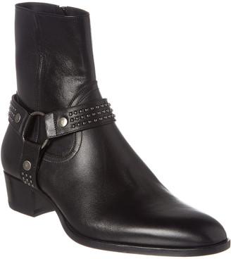 Saint Laurent Wyatt 40 Stud Harness Leather Boot