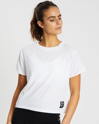 DKNY Track Logo Roll Sleeve Cropped Tee