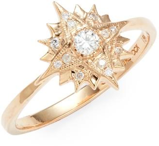 Sara Weinstock Starburst 18K Rose Gold & Diamond Midi Ring