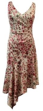 Taylor Floral-Print Asymmetrical-Hem Midi Dress