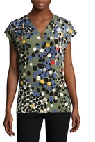 Anne Klein Printed V-Neck Ity Blouse