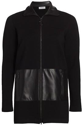 Akris Punto Faux Leather Pocket Zip Front Cardigan