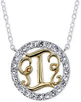 "Unwritten Initial ""I"" Pendant Necklace with Crystal Pavé Circle in Sterling Silver and Gold Flash"