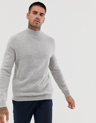 Asos DESIGN lambswool turtle neck jumper in light grey